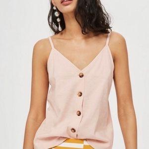 {TOPSHOP} Linen Button Cami Tank